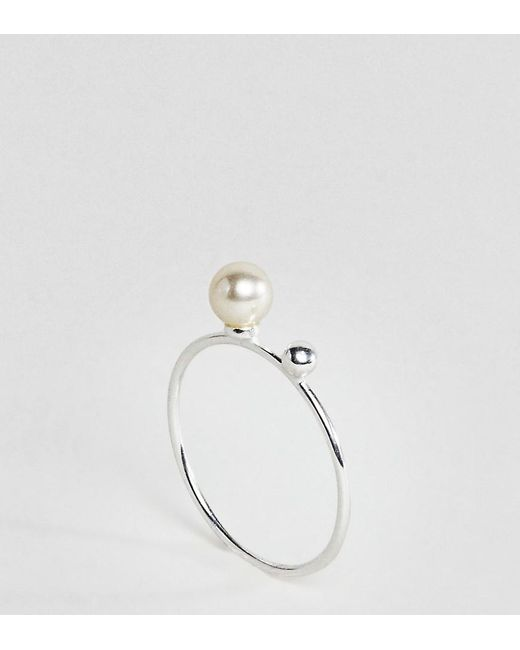 ASOS | Metallic Sterling Silver Pearl & Ball Station Ring | Lyst