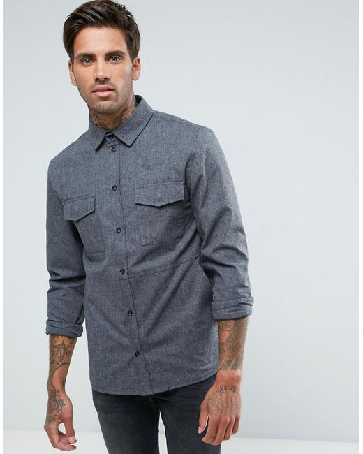Another Influence | Gray Heavyweight Brushed Overshirt for Men | Lyst