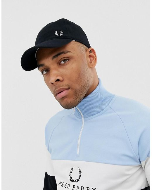 71d698bbbae Fred Perry Pique Classic Baseball Cap In Black in Black for Men ...