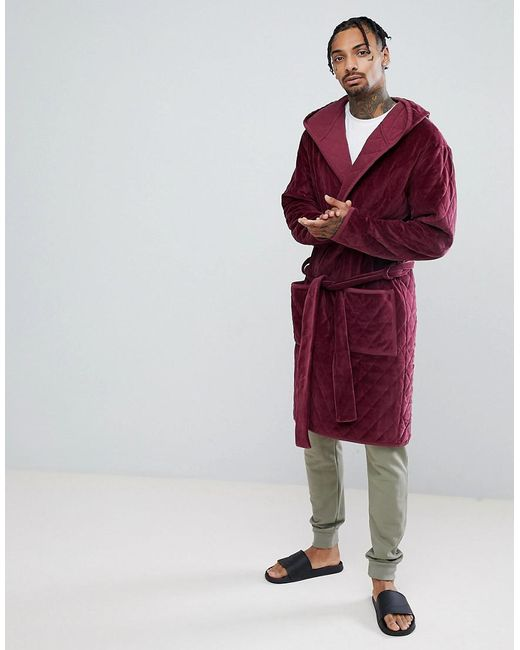 Lyst - Asos Hooded Dressing Gown Quilted In Velour in Red for Men