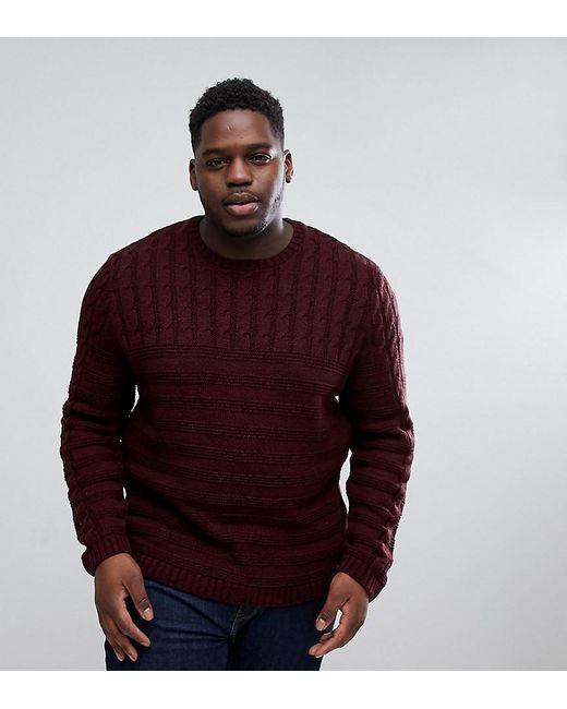 ASOS - Red Plus Cable Knit Yoke Jumper In Burgundy for Men - Lyst