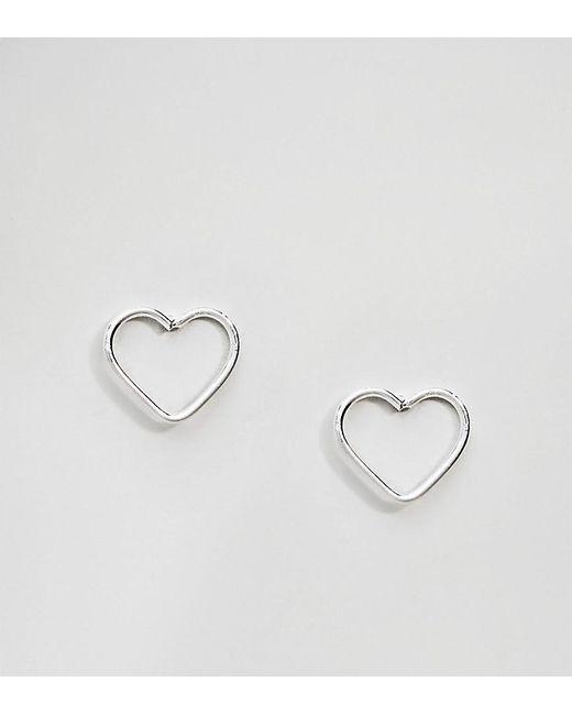 Kingsley Ryan - Metallic Sterling Silver Cut Out Heart Ear Studs - Lyst