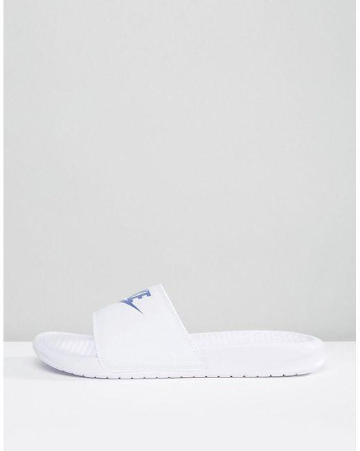 online store 30aca f4d6f Nike - Benassi Jdi Sliders In White 343880-102 for Men - Lyst ...