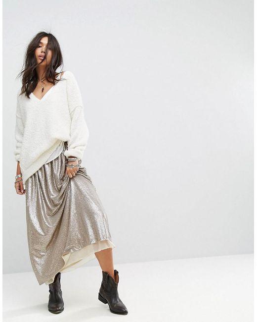 Free People | Metallic Flashing Lights Sequin Maxi Skirt | Lyst
