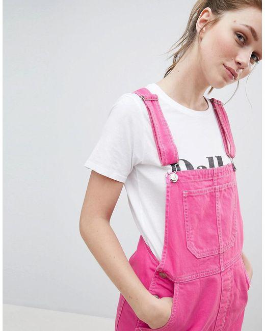 dungaree dress in pink - Pink Bershka luDLzYP