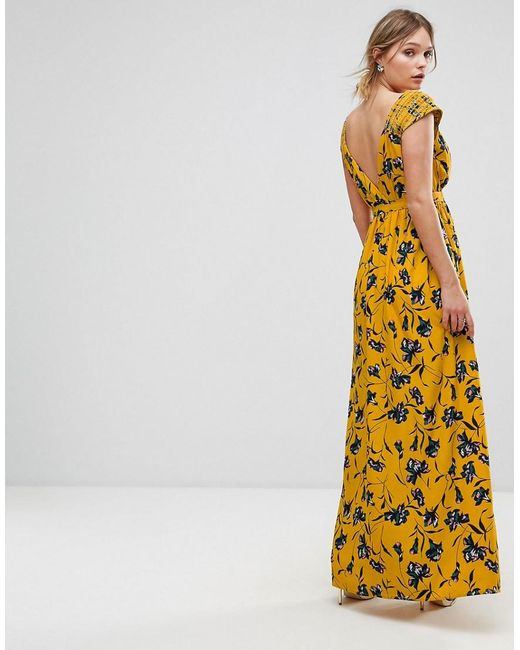 16abad1d313c ... Traffic People - Yellow Floral Chiffon Maxi Dress - Lyst