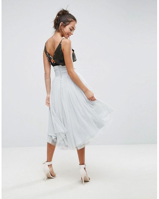 ASOS   Gray Midi Tulle Skirt With Button Back Detail   Lyst