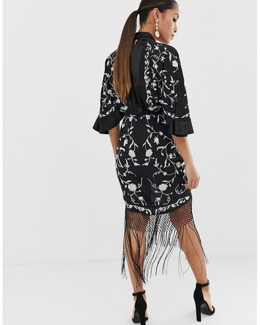 0edb5fc4fff17 Lyst - ASOS Asos Design Petite Kimono Mini Dress In Embroidered ...