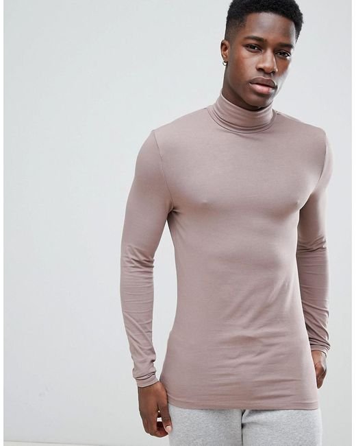 ASOS - Brown Muscle Fit Long Sleeve T-shirt With Roll Neck In Purple for Men - Lyst