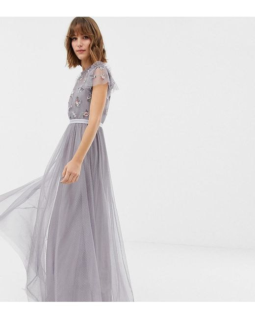 23dae6b0cd Needle & Thread - Purple Embellished Bodice Tulle Maxi Gown In Lavender ...