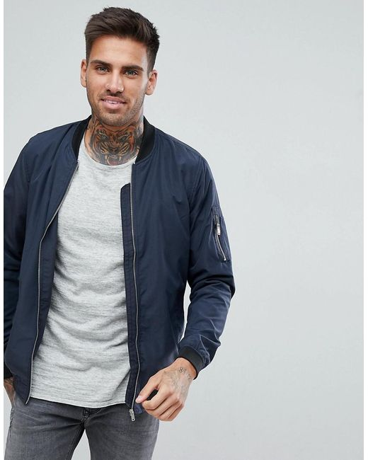 pull bear bomber jacket with ma1 pocket in navy in blue. Black Bedroom Furniture Sets. Home Design Ideas