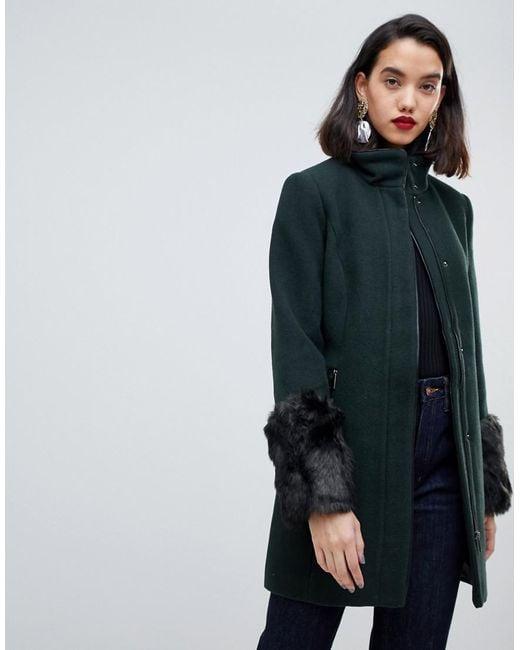 6ec1b6c8b673 Vero Moda - Green Funnel Neck Faux Fur Cuff Coat - Lyst ...