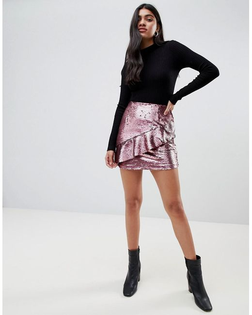 Glamorous - Pink Sequin Mini Skirt With Frill Detail - Lyst