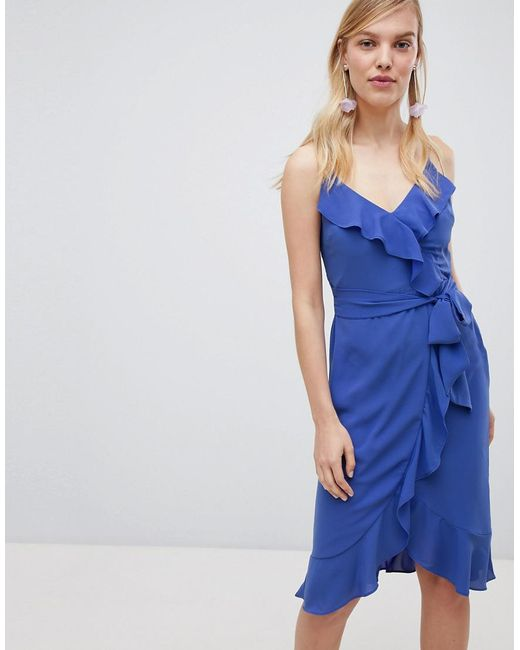 Oasis - Blue Cami Frill Front Wrap Midi Dress - Lyst