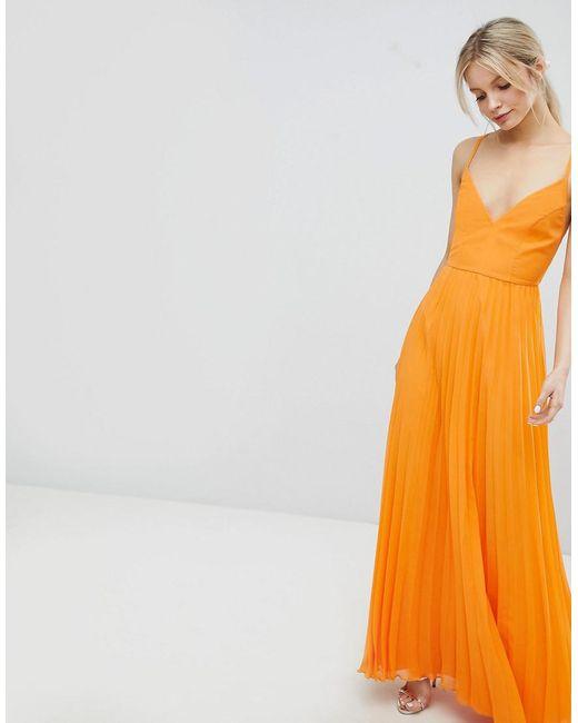 425403b4505 ... ASOS - Orange Robe caraco longue plisse avec bretelles dans le dos  ouvert - Lyst