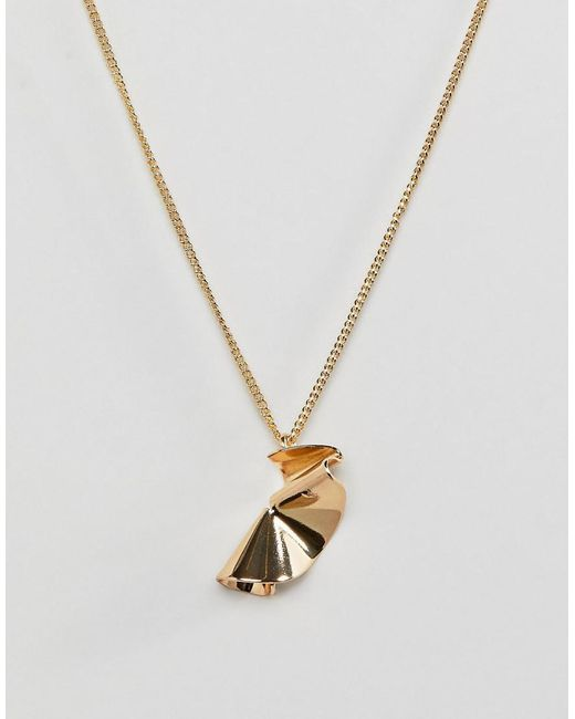 Pieces - Metallic Twisted Chain Necklace - Lyst