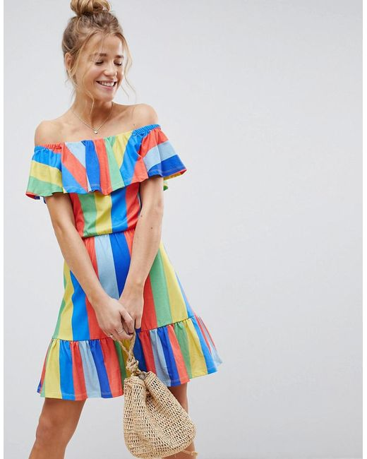 91992462e4e2 ASOS - Blue Asos Off Shoulder Sundress With Tiered Skirt In Rainbow Stripe  - Lyst ...