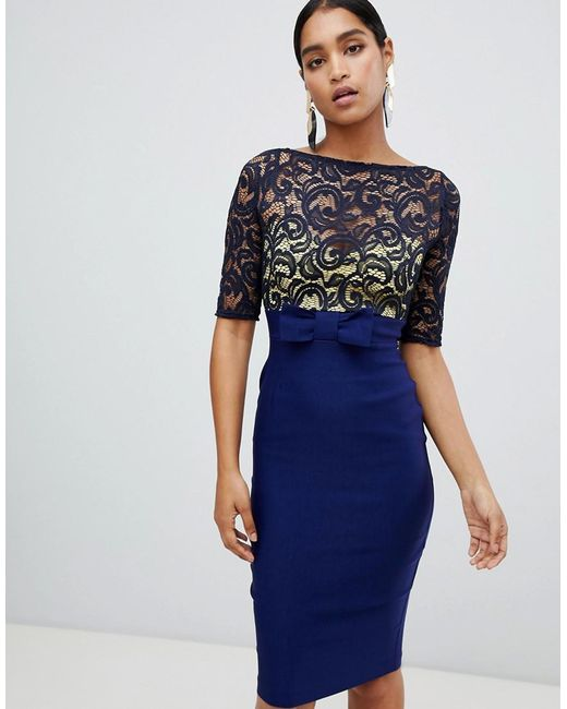 Vesper - Blue Lace Top 3/4 Sleeve Pencil Dress - Lyst