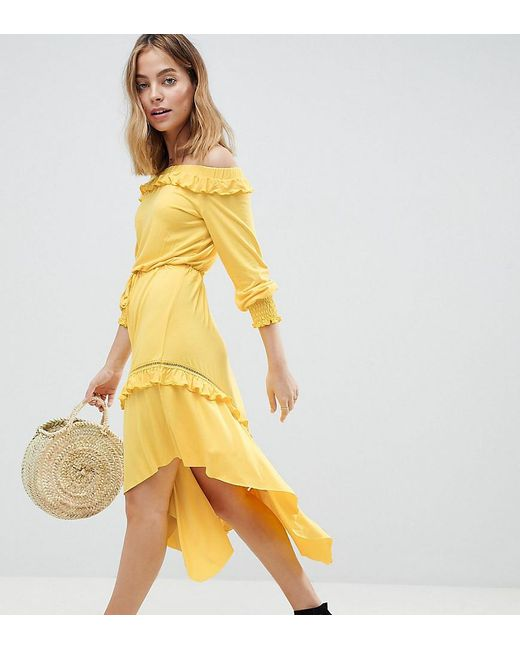ASOS - Yellow Asos Design Petite Off Shoulder Shirred Cuff Midi Tea Dress - Lyst