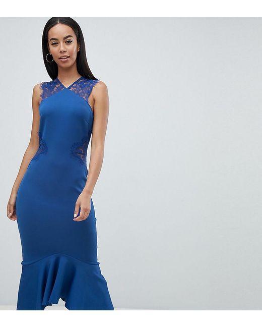ASOS - Blue Asos Design Tall Scuba Lace Insert Pephem Midi Dress - Lyst