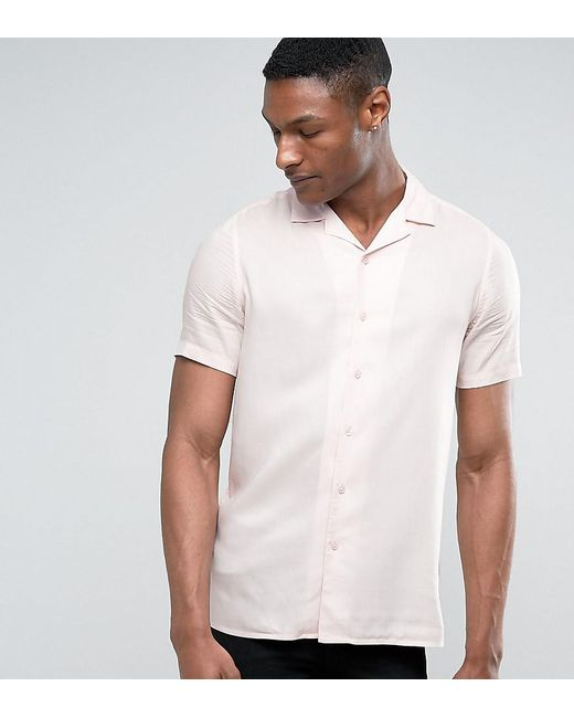 ASOS | Tall Oversized Viscose Shirt With Revere Collar In Pink for Men | Lyst