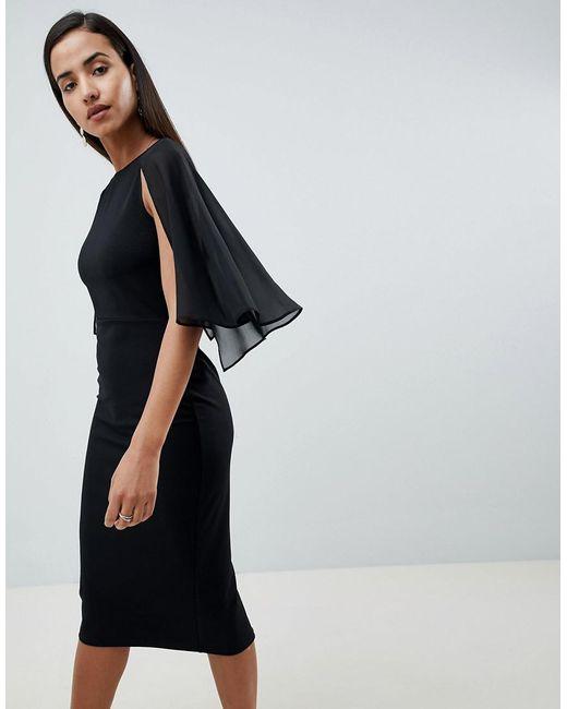 ASOS DESIGN - Black Woven Mix Cape Back Pencil Dress - Lyst