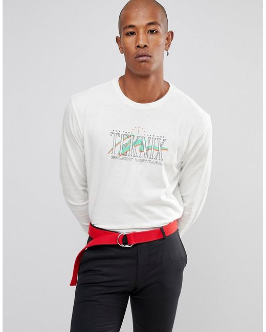 ASOS - White Relaxed Long Sleeve Heavyweight T-shirt With Text Print for Men - Lyst
