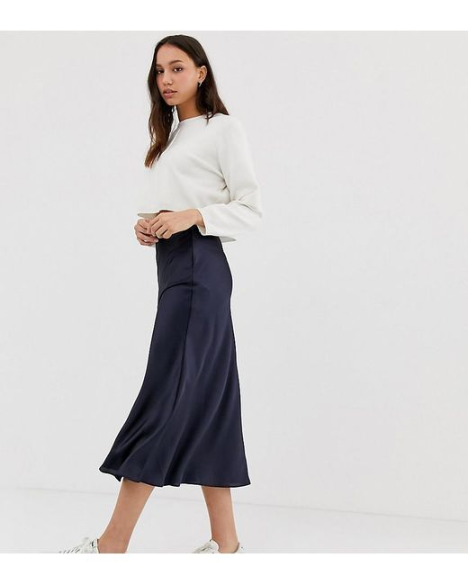 aed01e6ee ASOS - Blue Asos Design Tall Bias Cut Satin Slip Midi Skirt - Lyst ...