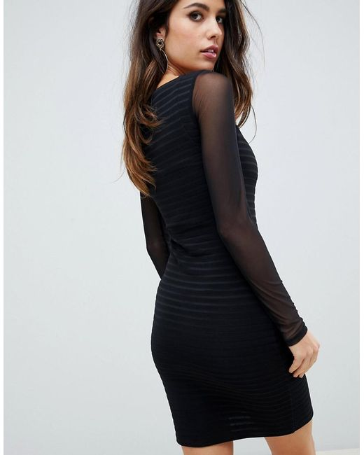 a57817ccfb73 ... ASOS - Black Bandage Mini Bodycon Dress With Mesh Sleeves - Lyst