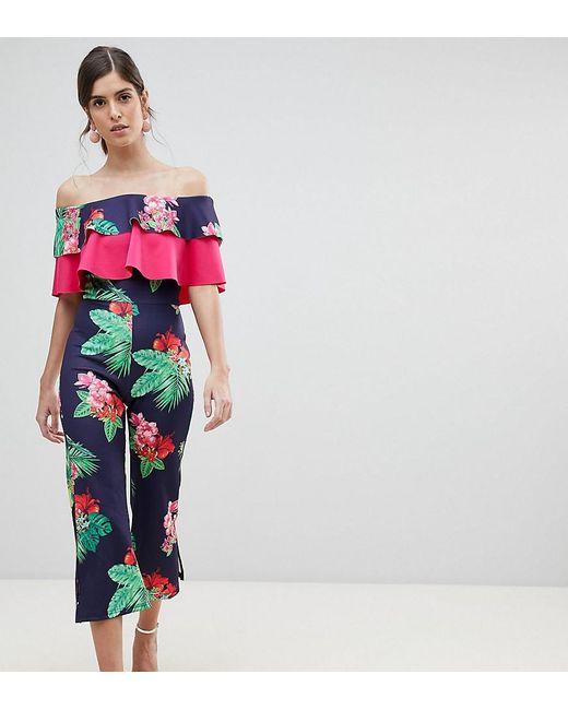 True Violet - Multicolor Double Frill Culotte Jumpsuit With Split - Lyst