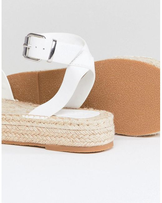 DESIGN Jake Studded Espadrille Sandals - White Asos bCsv70Q