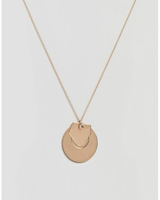 ASOS - Metallic Design Circle Disc And Geo Shape Pendant Necklace - Lyst