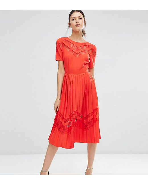 ASOS | Red Premium Pleated Midi Dress With Lace Inserts | Lyst