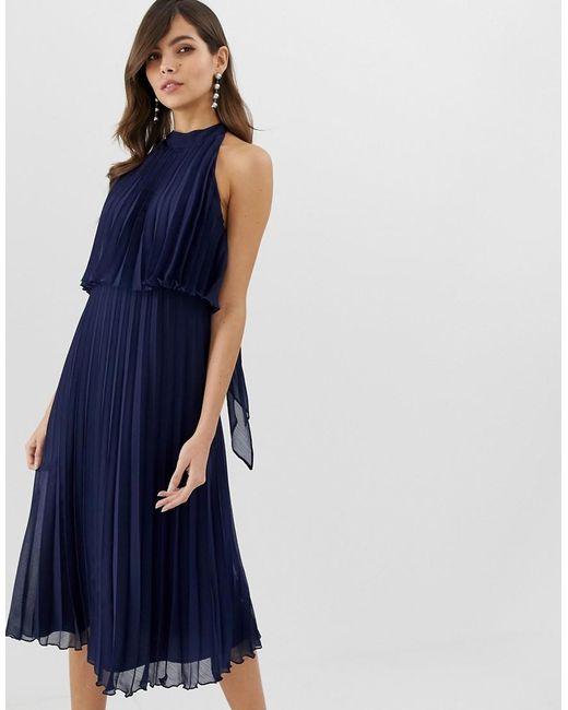 5f4449431d39c ASOS - Blue Halter Tie Neck Midi Dress In Pleat - Lyst ...