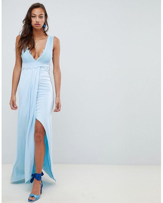 ASOS - Blue Lace Trim Maxi Dress - Lyst