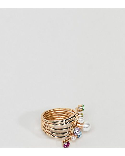 ASOS - Metallic Asos Design Curve Exclusive Ring With Multicolour Jewel And Pearl In Gold - Lyst