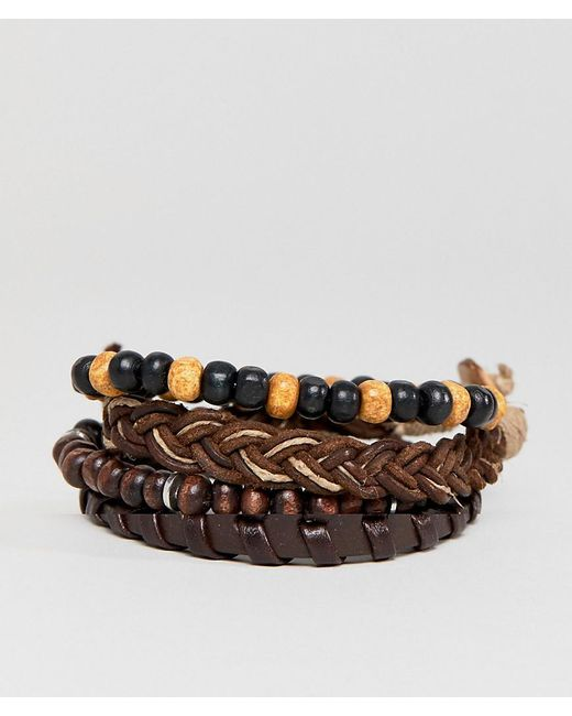 ASOS - Design Brown Leather And Beaded Bracelet Pack for Men - Lyst