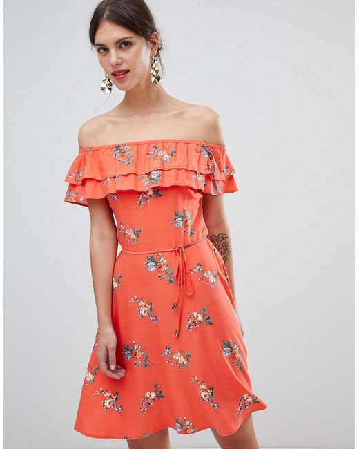 59d24a658ba4 Oasis - Multicolor Floral Bardot Skater Dress - Lyst ...