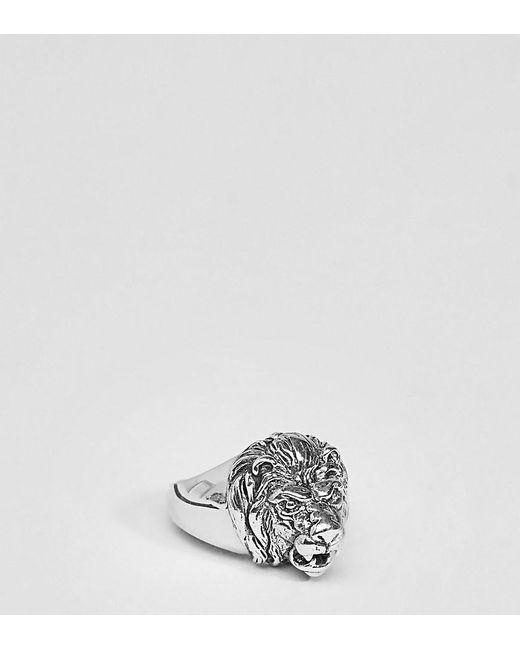 ASOS - Metallic Sterling Silver Lion Ring for Men - Lyst