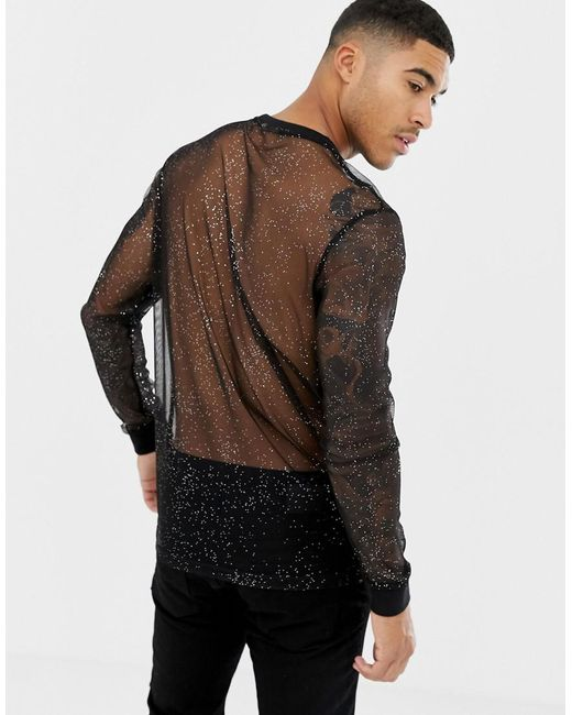 f33c1b617a7d8 ... ASOS - Black Longline Long Sleeve T-shirt In Sparkly Mesh for Men - Lyst