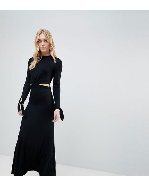 sélectionner pour officiel vente à bas prix Chaussures 2018 Robe longue avec manches longues et découpes femme de coloris noir