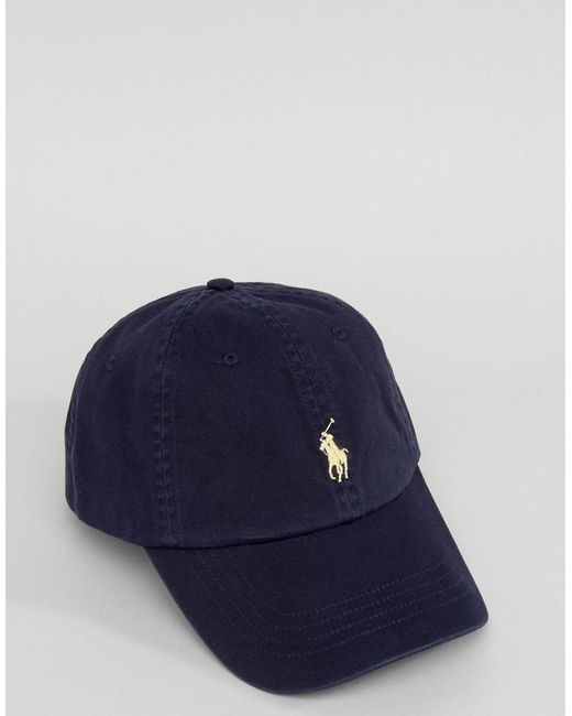 0ccb46f69 ... Polo Ralph Lauren - Blue Baseball Cap With White Player Logo In Washed  Navy for Men