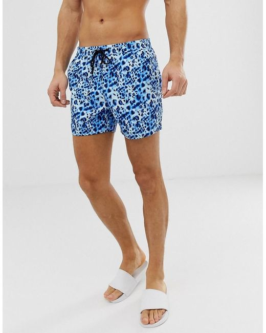 311082cd6f South Beach - Blue Recycled Swim Shorts In Watercolour Leopard Print for Men  - Lyst ...