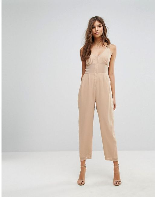 ASOS | Brown Jumpsuit In Chiffon With Corset Bodice | Lyst