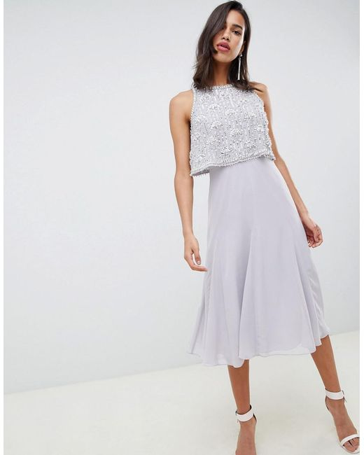 ASOS - Gray Crop Top Embellished Midi Dress With Gem Droplets - Lyst
