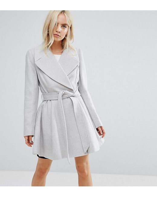 ASOS | Gray Skater Coat With Self Belt And Oversized Collar | Lyst