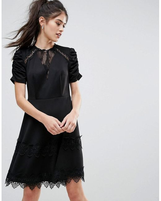 Lyst Club L Detailed Crochet Lace Skater Dress With Puff