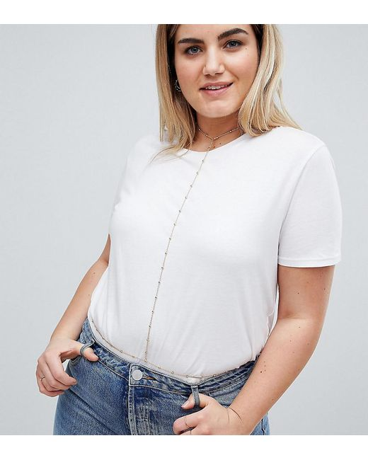 ASOS - Metallic Asos Design Curve Exclusive Geo Back Body Chain - Lyst