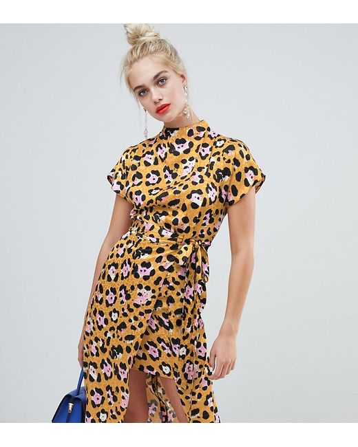 3f0956a89b4f River Island - Yellow Shift Dress With High Neck In Leopard Print - Lyst ...