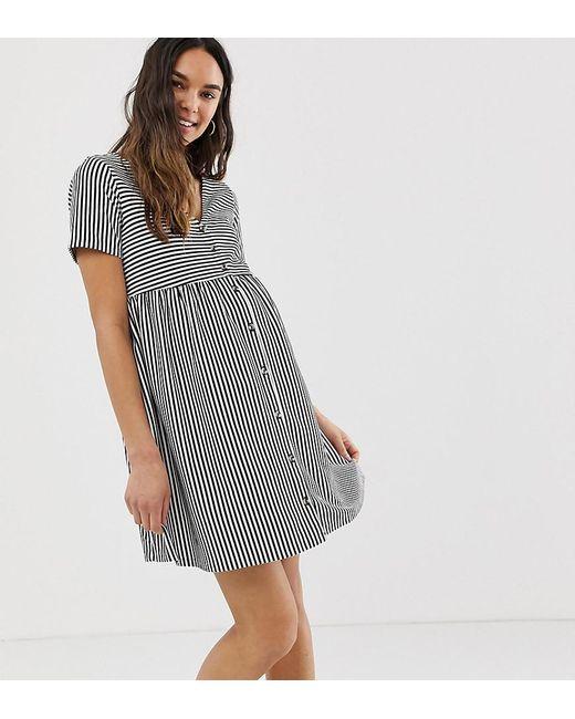 9e801bf0320 ASOS - Multicolor Asos Design Maternity Mini V Neck Button Through Smock  Dress In Stripe ...